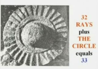 32 representation of a mayan stone cut to represent the sun and its 32 rays